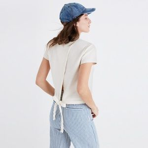Madewell Tie-Back Cream Top